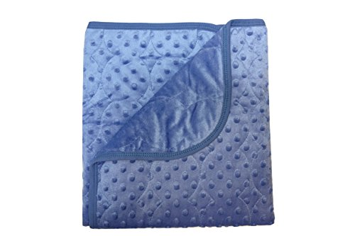 Minky Toddler Blanket (Quilted Newborn Baby Girl Blanket Swaddling Receiving Wrap Snuggle Security Stroller Car - Plush Extra Thick Double Layer Ultra Soft 100% Polyester Fiber Filling Dotted Mink Toddler Infant (Indigo))