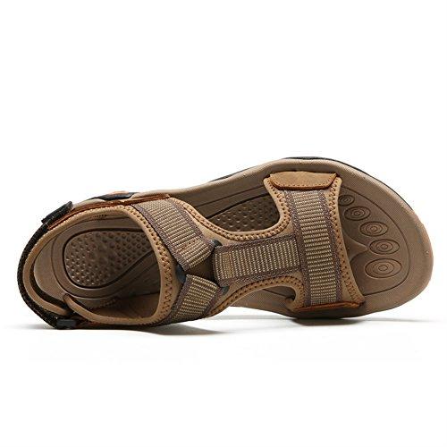 SK Studio Men Sandals Summer Athletic Slide Sandals Leather Fisherman Beach Casual Shoes Light Brown vXQSu2