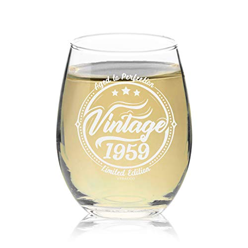 Veracco Vintage 1959 Aged To Perfection Stemless Wine Glass 60th Birthday Gift For Him Her Sixty and Fabulous (Stemless Glass)