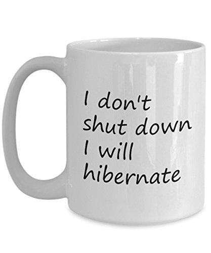 Computer Programmer Coffee Mug 15 Oz - Shut Down Or Hibernate - Software Developer Mug For Father, Son, Him For Birthday - Ceramic Coffee Mug White