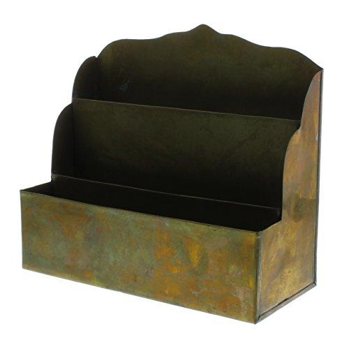 Antique Vintage Brass Letter Rack | Desktop Mail Organizer Metal Classic