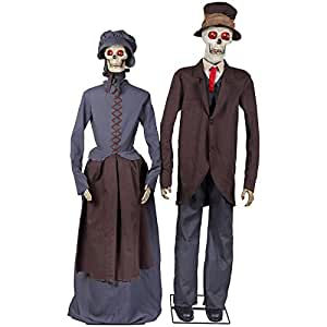 Holiday Living Animatronic Pre-Lit Musical Skeleton Couple Lifesize Greeter with Flashing Red LED Lights