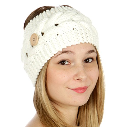 Crown Winter Warm Button Cable Knit Headband (Various Colors) (96-White)
