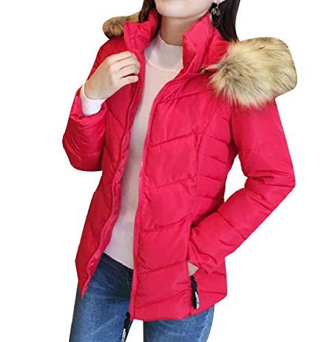 Faux Fur with Jacket Classic Hood Warm Coat EnergyWomen Thicken Brumal Red cqg7WExx
