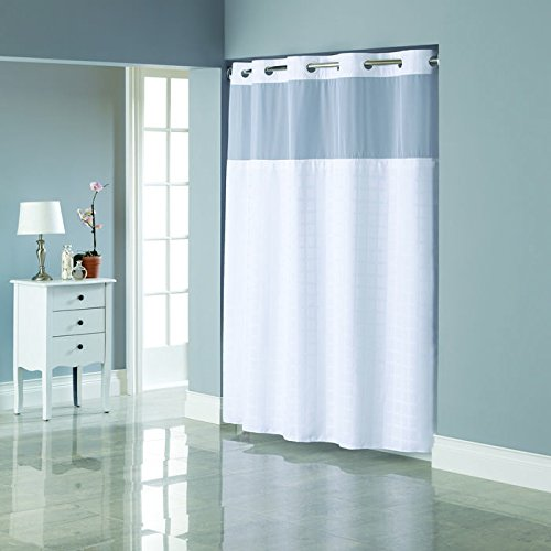 Hookless Jacquard Shower Cutrain with Fabric Liner-Bright (Jacquard Snap)