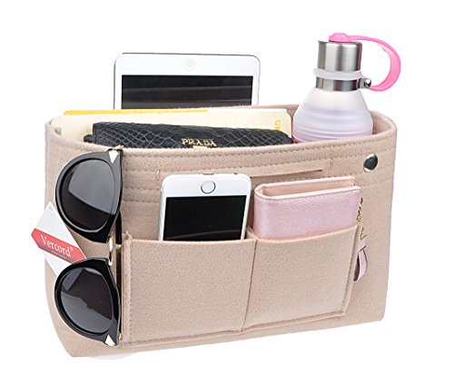(Vercord Felt Tote Handbag Purse Pocketbook Organizer Insert Divider Shaper Bag in Bag, Normal-Beige)