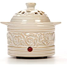"""Hosley's Cream Electric Potpourri Warmer - 6"""" High. Ideal Gift for Wedding, Special Occasions, Spa, Aromatherapy, Reiki, Meditation Settings and Home Office O4"""