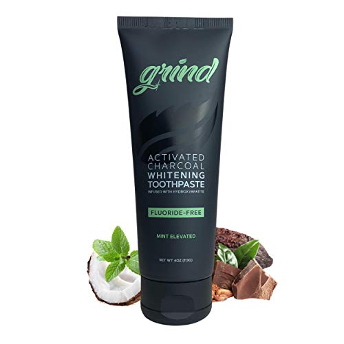 Grind Activated Charcoal WHITENING Toothpaste. Natural Hydroxyapatite and Theobromine for REMINERALIZING. Made in USA. Veteran Owned. Fluoride Free, Black Tooth Paste, Vegan, Coco Mint (4oz)