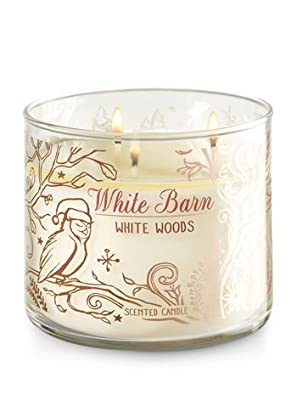 Bath and Body Works White Barn 3 Wick Scented Candle White Woods 14.5 Ounce
