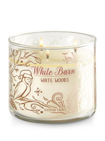 Bath and Body Works White Barn 3 Wick Scented Candle White Woods 14.5 Ounce (Barn Candle)
