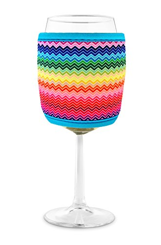 Joe Jacket Wine Glass Insulator, Neoprene Sleeve Drink Holder - Rainbow Chevron