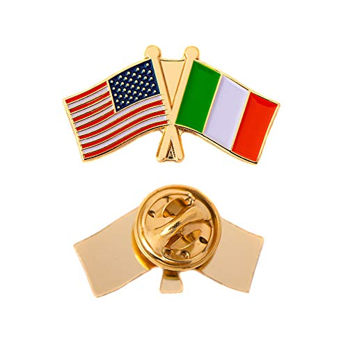 Italy Country Double Flag Lapel Pin Enamel with United States USA US Souvenir Hat Men Women Patriotic Italian (Double Flag Pin) ()