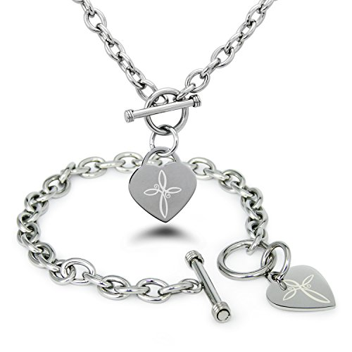 Tioneer Stainless Steel Infinity Cross Symbol Heart Charm, Bracelet and Necklace - Co Tiffany Toggle Necklace