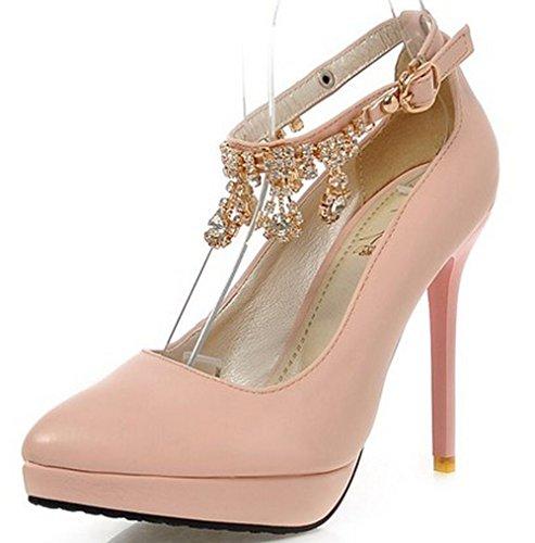 Ladies LongFengMa Pumps Fashion Footwear Party Ankle Pink Shoes Female Women Heel High Strap Classic Platform 4qg4rp