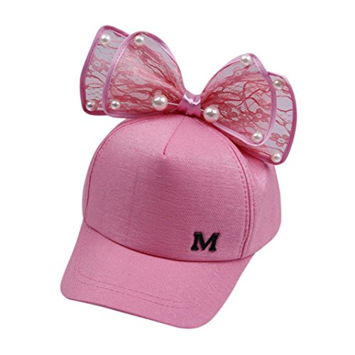 f605c5a7647 Perman Sun Hat Girls Toddler Summer Pearl Bowknot Bucket Baseball Beret Cap  (Hot Pink)