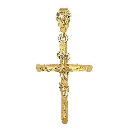 14k Gold Plated 36mm x 5.6cm Wood Textured Titulus Crucifix Pendant, + Microfiber Jewelry Polishing Cloth