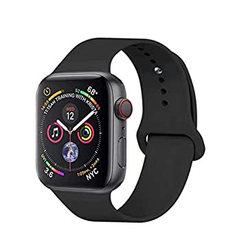 Apple Watch Band 42MM 44MM, Soft Silicone Sport Band Replacement Wrist Strap Compatible iWatch Series 4/3/2/1, Nike+,Sport,Edition - (Black)