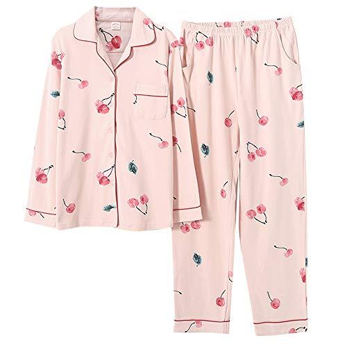Estampado Suelto Primavera Manga Cereza Otoño Color Pijamas Gran Algodón De Tamaño Mmllse Larga Y Photo Mujer UzP0qt