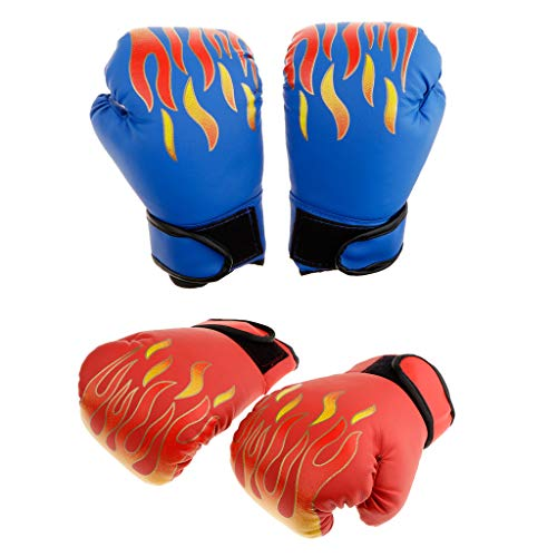 Baosity 2 Pairs Gel Boxing Kickboxing Training Gloves Mitts Red Blue