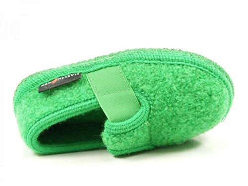 Haflinger Joschi 621002 - Zapatillas de casa de tela para niños Grün