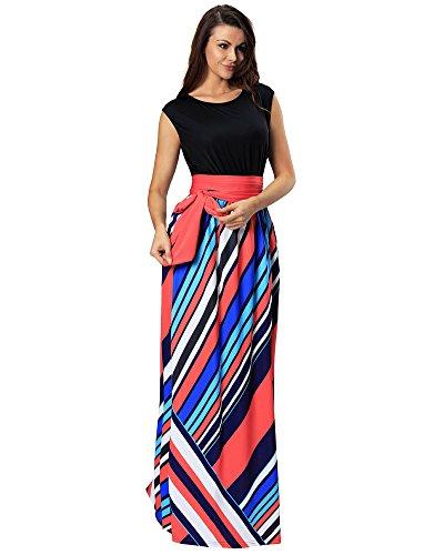 Aofur Women's Boho Empire Tank Top Casual Maxi Evening Party Long Dress Plus Size Sundress (X-Large, - Shop Number Sun Contact