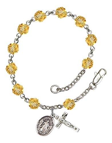 November Birth Month Bead Rosary Bracelet with Divine Mercy Petite Charm, 7 1/2 (Mercy Charm)