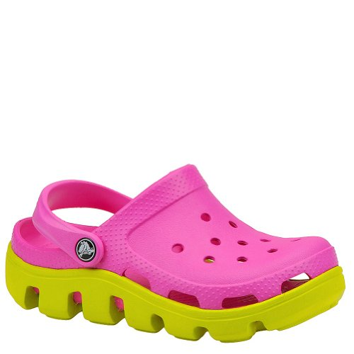 (Crocs Youth Duet Sport Clog, Magenta/Green-1 Youth)