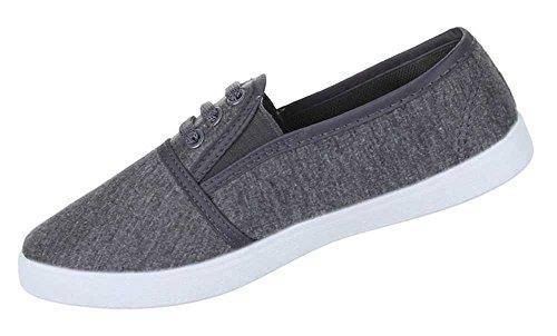 Damen Schuhe Freizeitschuhe Bequeme Slipper Grau