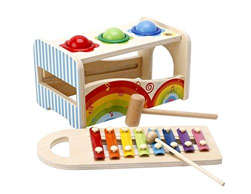 Lewo Banc à Marteler avec Xylophone en Bois Jouet à Frapper Musical Jouet de Motricité Jeux Éducatifs Instrument de Musique Premier Age pour Les Enfants