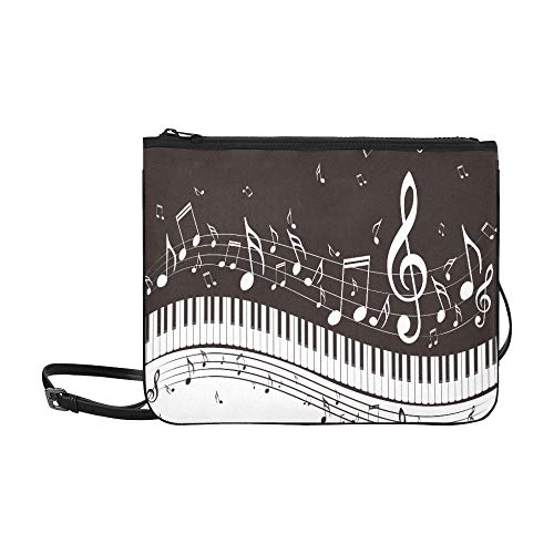Simple Piano Keys And Musical Notes Pattern Custom High-grade Nylon Slim Clutch Bag Cross-body Bag Shoulder Bag