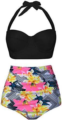 Angerella Womens Vintage Floral Print Ruffles Tankini Top Slim Waist Two-Piece Swimsuit Bikini Set