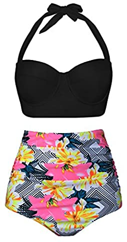 Newbely Maternity Swimsuit For Women Two Pieces High Waisted Halter Bikini 2XL/Black-Three - Piece Maternity Swimsuit