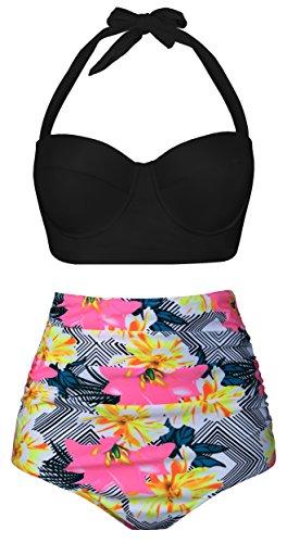 Swiland Women's Retro Vintage High Waist Bikini Two Piece Swimsuits,US 14-16=Tag Size (New 2 Piece Swimsuit)