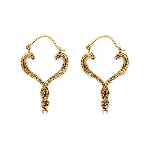 (81stgeneration Women's Brass Gold Tone Two Snakes Intertwined Ethnic Tribal Earrings )