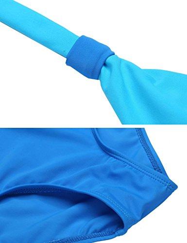 Avidlove One Piece Swimsuit V-Neck Ruched Tummy Control Bathing Suit(Blue,S)