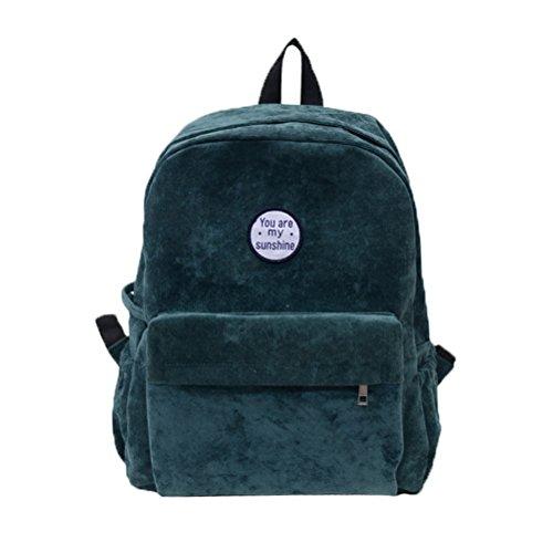 - Donalworld Girl Velvet Backpack Cute Casual Zipper Solid Bags M Grn