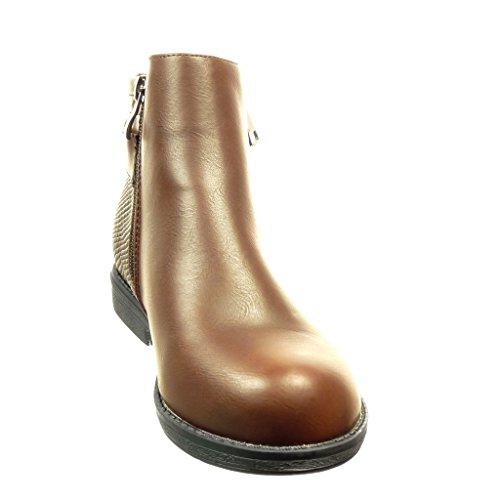 Angkorly - damen Schuhe Stiefeletten - Schlangenhaut - Schleife Blockabsatz 2 CM - Braun