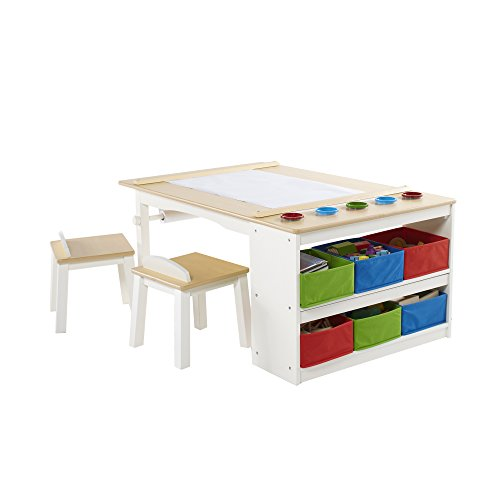 Activity Table With Storage (Guidecraft Arts and Crafts Center - Desk Unit, Two Stools, Five Paint Cups and Six Canvas Storage Bins)