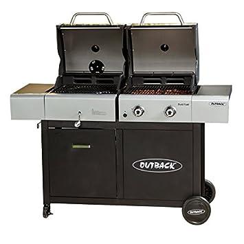 Outback Barbacoa con 2 quemadores de gasolina y carbón vegetal con sistema de placa de cocina