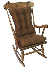 """Klear Vu Tyson XL Gripper Non-Slip Extra Large Overstuffed Rocking Chair Pad Set, 17"""" x 17"""", Brown"""