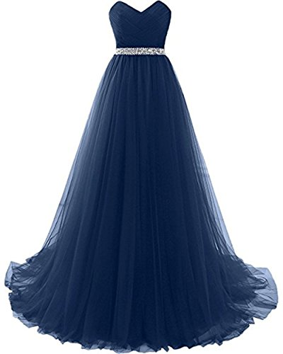 Henglizh Women's Retro Pleated Sash Empire Waist Slim Mother's Wedding Maxi Dress Navy Blue,Size 16 ()