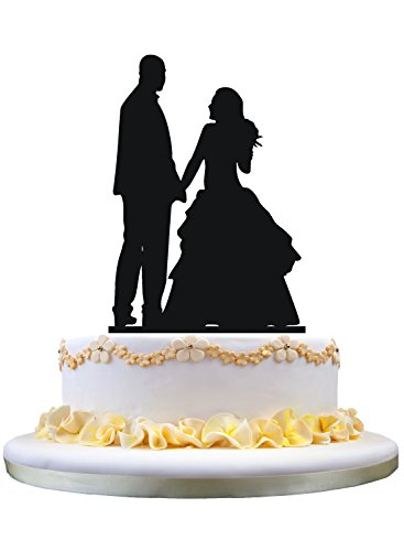 Unique Wedding Cake Topper- Bride and Bald Groom Cake Topper, Wedding Gift for New (Bald Groom)