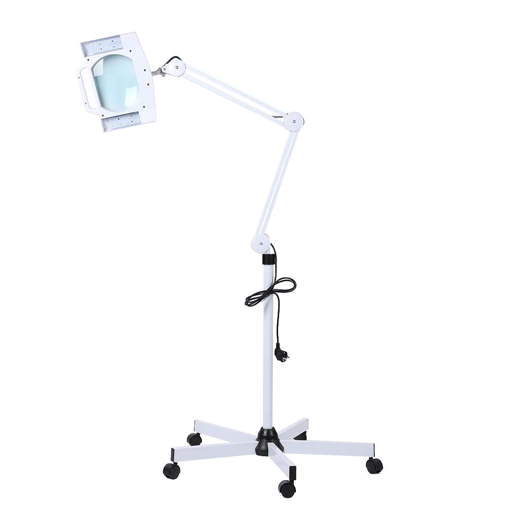 Magnifying Lamp, LED Cold Light 5X Beauty Cosmetic Makeup Magnifying Lighted Magnifier Floor Light with Dustproof Cap US Plug 110-120V