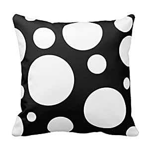 Black and White Polka Dots Pattern Square Decorative Throw Pillow Case Cushion Cover 18X18 Inch Zippered (Two Sides)