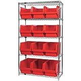 Quantum Storage 12-Bin Chrome Wire Shelf Bin System - 18in.L x 42in.W x 74in.H Rack Size, Red Magnum Bins, Model# WR5533RD