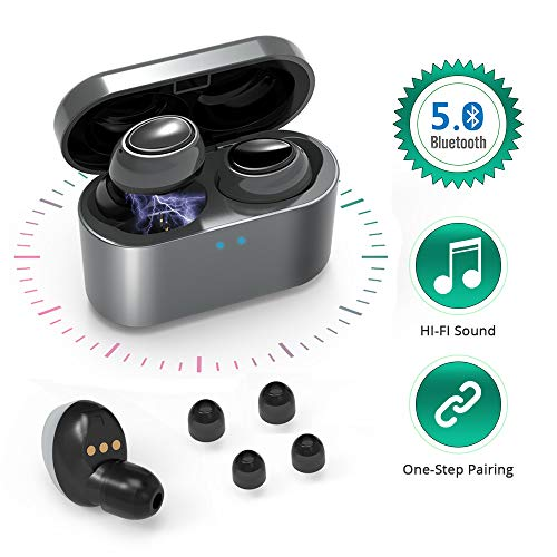 Mini Bluetooth 5.0 Wireless Earbuds Headphones Wireless HiFi Stereo Sound in-Ear Sweatproof Earphone with Built-in Mic and Charging Case