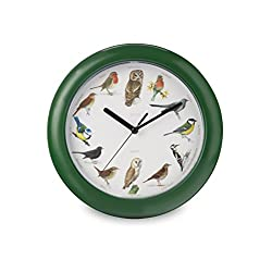 Zeon On The Hour Musical Singing Birdsong Sounds 10 Quartz Wall Clock - Green