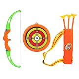 Kids Archery Bow and Arrow Toy Set Bow Toy Simulation with 3 Durable Suction Cup Arrows and Target for Boys and Girls