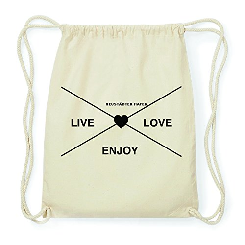JOllify NEUSTÄDTER HAFEN Hipster Turnbeutel Tasche Rucksack aus Baumwolle - Farbe: natur Design: Hipster Kreuz 9ZZGQe