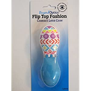 Beyond Optics Fashion Pretty Pattern Contact Lens case Holder Travel Edition Bright Colored Case Letters Marked R and L Individually packed
